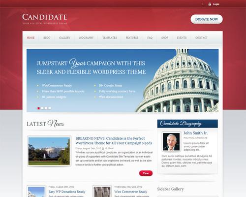 Candidate - WordPress Political Theme | Themeshaker.com