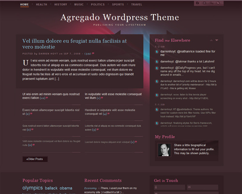 Free Lifestream WordPress Theme