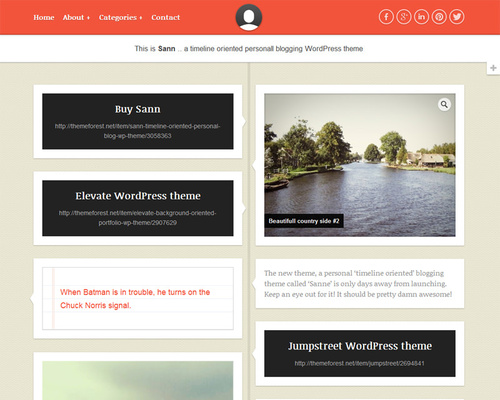 Sann - Facebook Timeline Style WordPress Theme | Themeshaker.com
