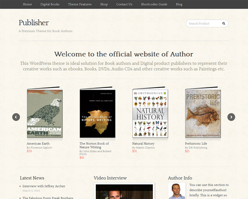 eCommerce WordPress Theme for Authors