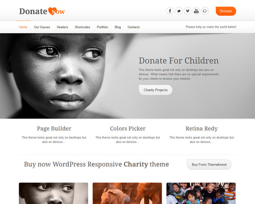 DonateNow - Donation WordPress Theme | Themeshaker.com