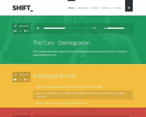 Colorful Tumblog Style WordPress Theme