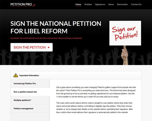 WordPress Petition Theme