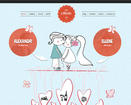 Hand-drawn WordPress Wedding Theme
