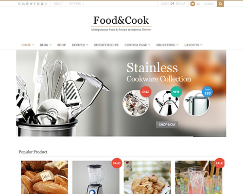 Cooking Recipe & eCommerce WordPress Theme