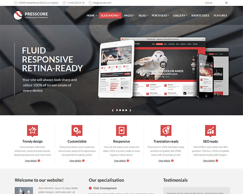 Presscore fluid wordpress business theme themeshaker fluid wordpress business theme flashek