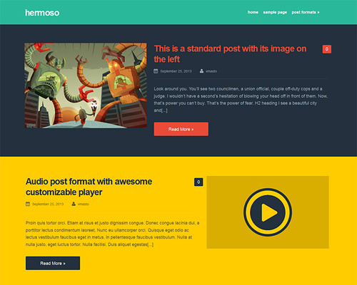 Hermoso - Free Colorful WordPress Blogging Theme | Themeshaker.com