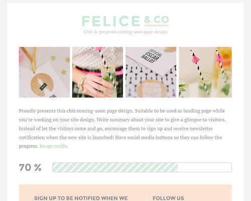 Feminine Coming Soon WordPress Theme