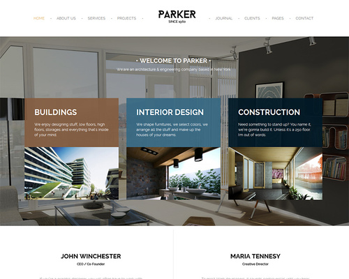Parker architecture interior design wordpress theme for Interior design wordpress theme