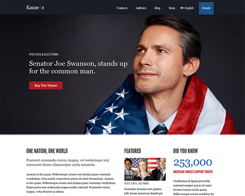 WordPress Theme for Charities and Politics