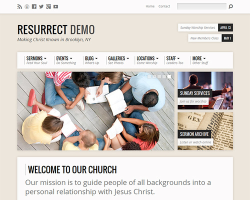 WordPress Theme for Church Websites