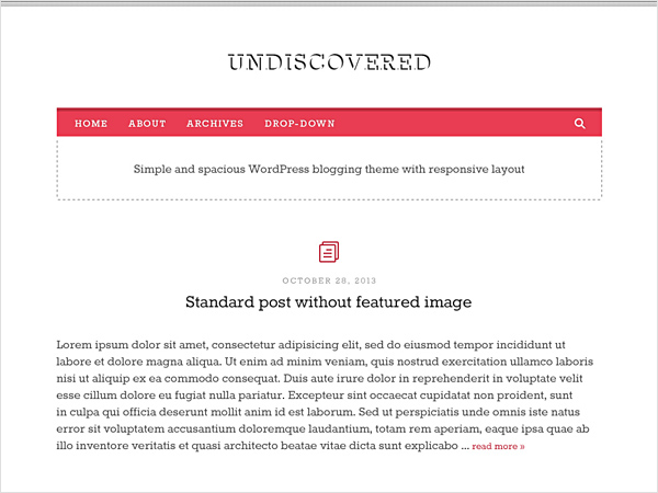 Undiscovered. A Free Responsive WordPress Blog Theme