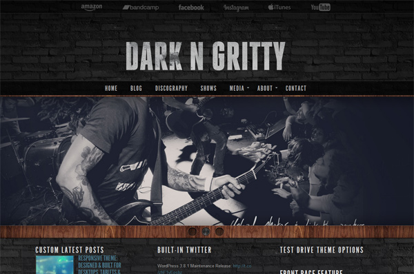 WordPress Band Template – Dark N Gritty
